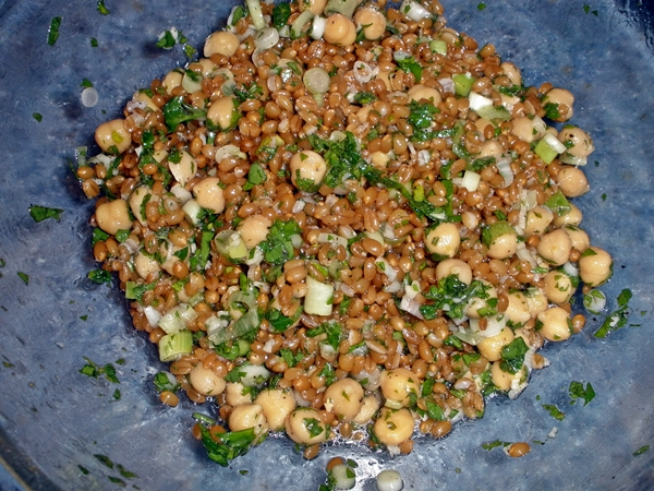 Lemony Chickpea and Herb Wheat Berry Salad recipe