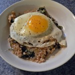 Spinach Quinoa with Sunny Side  Up Egg