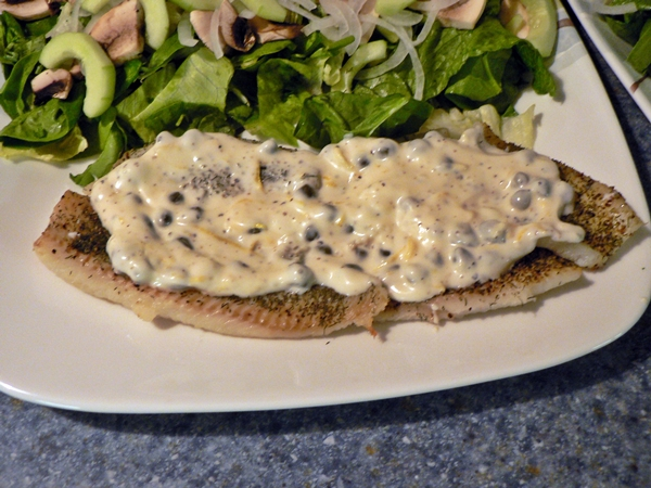 Baked Flounder with Creamy Yogurt Caper Sauce recipe