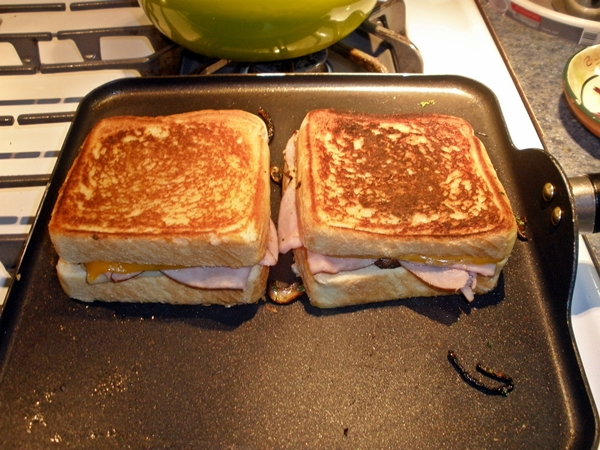 Grilled Ham, Cheese, Mushroom and Onion Sandwiches recipe